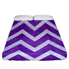 Chevron9 White Marble & Purple Brushed Metal Fitted Sheet (queen Size) by trendistuff