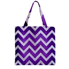 Chevron9 White Marble & Purple Brushed Metal Zipper Grocery Tote Bag by trendistuff