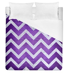 Chevron9 White Marble & Purple Brushed Metal Duvet Cover (queen Size) by trendistuff