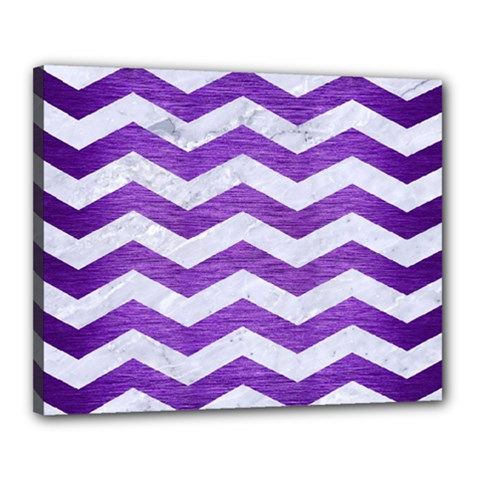 Chevron3 White Marble & Purple Brushed Metal Canvas 20  X 16  by trendistuff