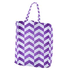 Chevron2 White Marble & Purple Brushed Metal Giant Grocery Zipper Tote