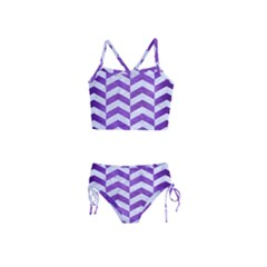 Chevron2 White Marble & Purple Brushed Metal Girls  Tankini Swimsuit