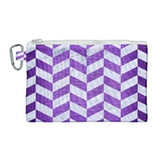 Chevron1 White Marble & Purple Brushed Metal Canvas Cosmetic Bag (large) by trendistuff