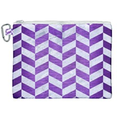Chevron1 White Marble & Purple Brushed Metal Canvas Cosmetic Bag (xxl) by trendistuff