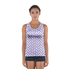 Brick2 White Marble & Purple Brushed Metal (r) Sport Tank Top  by trendistuff