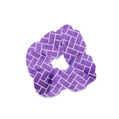 Brick2 White Marble & Purple Brushed Metal Velvet Scrunchie by trendistuff