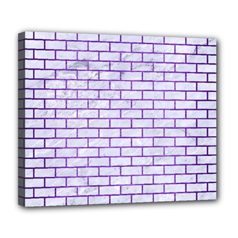Brick1 White Marble & Purple Brushed Metal (r) Deluxe Canvas 24  X 20   by trendistuff