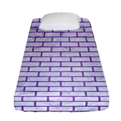 Brick1 White Marble & Purple Brushed Metal (r) Fitted Sheet (single Size) by trendistuff