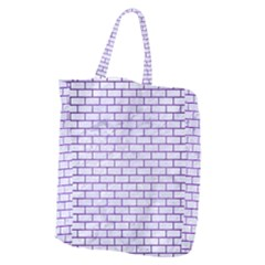 Brick1 White Marble & Purple Brushed Metal (r) Giant Grocery Zipper Tote