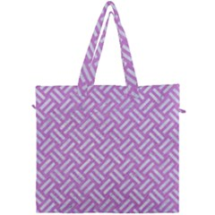 Woven2 White Marble & Purple Colored Pencil Canvas Travel Bag by trendistuff