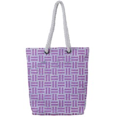 Woven1 White Marble & Purple Colored Pencil (r) Full Print Rope Handle Tote (small)