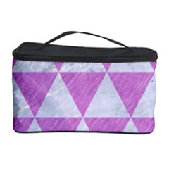 Triangle3 White Marble & Purple Colored Pencil Cosmetic Storage Case