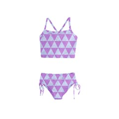 Triangle3 White Marble & Purple Colored Pencil Girls  Tankini Swimsuit