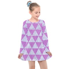 Triangle3 White Marble & Purple Colored Pencil Kids  Long Sleeve Dress