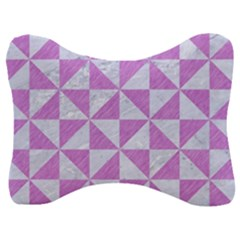 Triangle1 White Marble & Purple Colored Pencil Velour Seat Head Rest Cushion