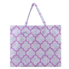Tile1 White Marble & Purple Colored Pencil (r) Zipper Large Tote Bag by trendistuff