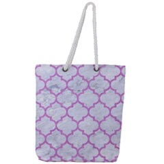 Tile1 White Marble & Purple Colored Pencil (r) Full Print Rope Handle Tote (large) by trendistuff