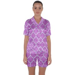 Tile1 White Marble & Purple Colored Pencil Satin Short Sleeve Pyjamas Set by trendistuff