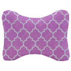 Tile1 White Marble & Purple Colored Pencil Velour Seat Head Rest Cushion by trendistuff