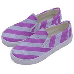 Stripes3 White Marble & Purple Colored Pencil (r) Kids  Canvas Slip Ons by trendistuff