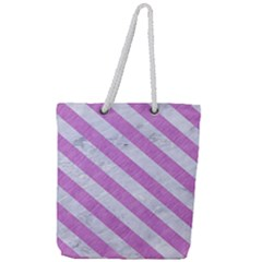 Stripes3 White Marble & Purple Colored Pencil Full Print Rope Handle Tote (large) by trendistuff