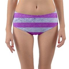 Stripes2white Marble & Purple Colored Pencil Reversible Mid Waist Bikini Bottoms by trendistuff
