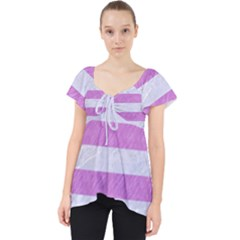 Stripes2white Marble & Purple Colored Pencil Lace Front Dolly Top