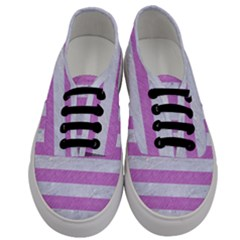 Stripes2white Marble & Purple Colored Pencil Men s Classic Low Top Sneakers