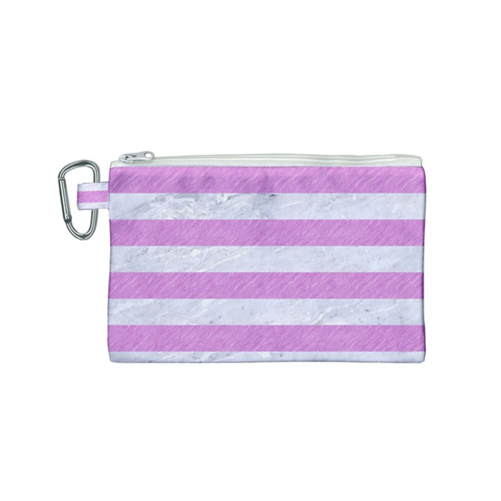 STRIPES2WHITE MARBLE & PURPLE COLORED PENCIL Canvas Cosmetic Bag (Small)