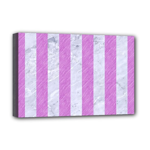 Stripes1 White Marble & Purple Colored Pencil Deluxe Canvas 18  X 12   by trendistuff