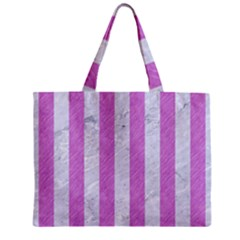 Stripes1 White Marble & Purple Colored Pencil Zipper Mini Tote Bag by trendistuff