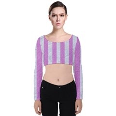 Stripes1 White Marble & Purple Colored Pencil Velvet Crop Top by trendistuff
