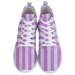 Stripes1 White Marble & Purple Colored Pencil Men s Lightweight High Top Sneakers by trendistuff