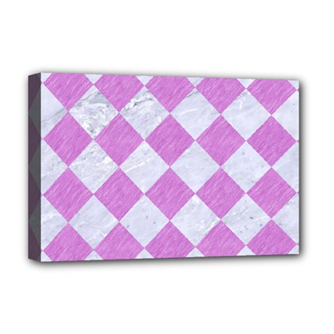 Square2 White Marble & Purple Colored Pencil Deluxe Canvas 18  X 12   by trendistuff