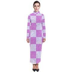 Square1 White Marble & Purple Colored Pencil Turtleneck Maxi Dress