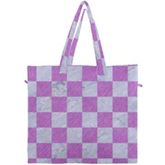 Square1 White Marble & Purple Colored Pencil Canvas Travel Bag by trendistuff