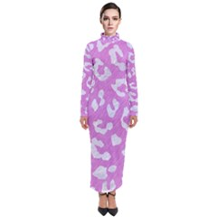 Skin5 White Marble & Purple Colored Pencil (r) Turtleneck Maxi Dress
