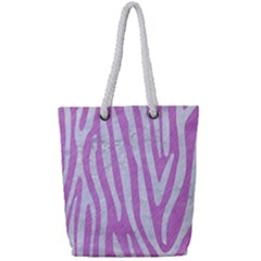 Skin4 White Marble & Purple Colored Pencil (r) Full Print Rope Handle Tote (small)