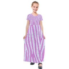 Skin4 White Marble & Purple Colored Pencil (r) Kids  Short Sleeve Maxi Dress
