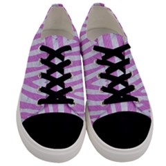 Skin4 White Marble & Purple Colored Pencil Men s Low Top Canvas Sneakers