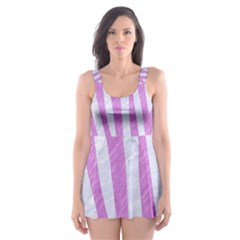 Skin4 White Marble & Purple Colored Pencil Skater Dress Swimsuit
