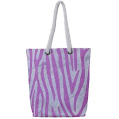 Skin4 White Marble & Purple Colored Pencil Full Print Rope Handle Tote (small)