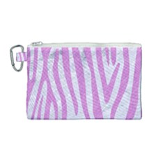 Skin4 White Marble & Purple Colored Pencil Canvas Cosmetic Bag (medium)