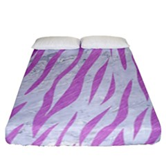 Skin3 White Marble & Purple Colored Pencil (r) Fitted Sheet (california King Size)