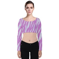Skin3 White Marble & Purple Colored Pencil Velvet Crop Top