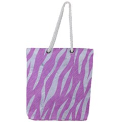 Skin3 White Marble & Purple Colored Pencil Full Print Rope Handle Tote (large) by trendistuff