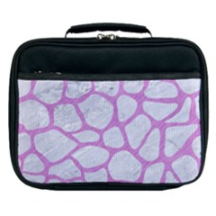 Skin1 White Marble & Purple Colored Pencil Lunch Bag by trendistuff