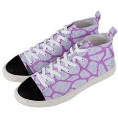 Skin1 White Marble & Purple Colored Pencil Men s Mid Top Canvas Sneakers by trendistuff