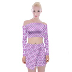 Scales3 White Marble & Purple Colored Pencil Off Shoulder Top With Mini Skirt Set by trendistuff