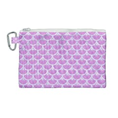 Scales3 White Marble & Purple Colored Pencil Canvas Cosmetic Bag (large) by trendistuff